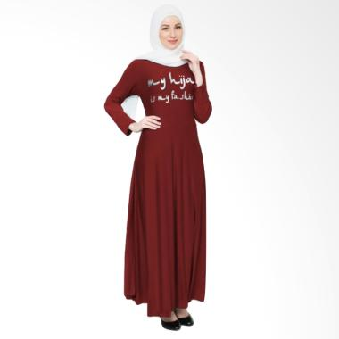 Okechuku Maxi Tangan Panjang Print  ... Long Dress Gamis - Maroon