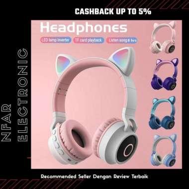 harga FREE ONGKIR Headset Bluetooth Bando Motif Kucing Headphone Lucu Untuk Anak-Anak - Biru Muda Blibli.com