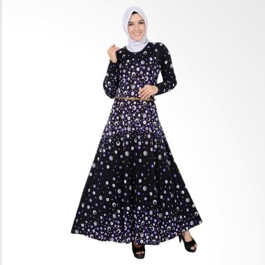 Jfashion Violin Dot Long Dress Gamis Maxi Tangan panjang Wanita - Ungu