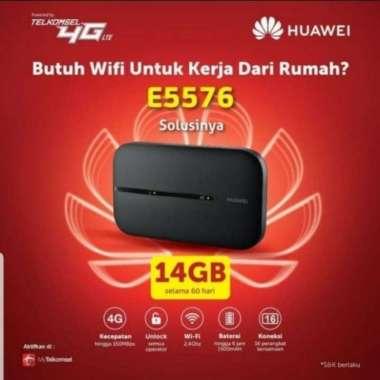 harga Huawei Modem MiFi E5576 + Telkomsel 14GB Unlock All Operator hitam Blibli.com