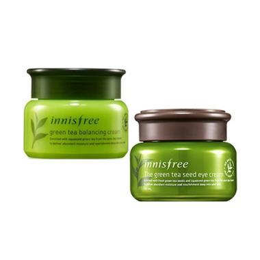 Innisfree Green Tea Balancing Cream & Green Tea Seed Eye Cream Paket Perawatan Mata