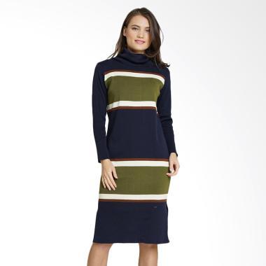 Minimal Polo Knit Stripe Dress Wanita - Dark Navy