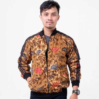 Batik Distro Batik Daun 2 Alur Jaket Pria - Coklat [T1251]
