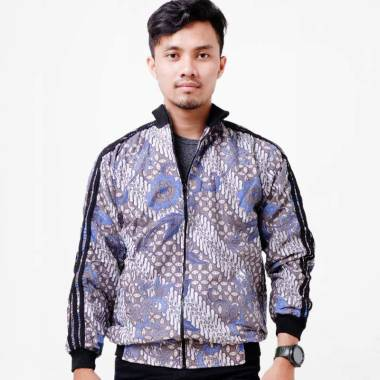 Batik Distro Motif Batik Kombinasi Jaket Pria Biru T1277