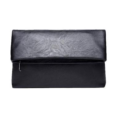 Cooltech Kulit Folded Clutch Tas Tangan Lipat Pria Black
