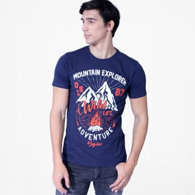 Osella Men Mountain Explorer Wild Life T-Shirt Pria - Indigo