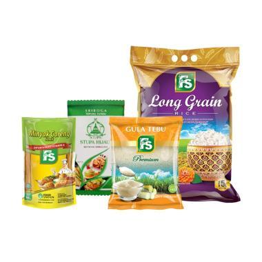 Paket Sembako - FS Beras Long Grain [4 kg] + FS Gula Pasir Kuning Premium [1 kg] + Tepung Cap Stupa Hijau [1 kg] + FS Minyak Goreng Super [900 mL]