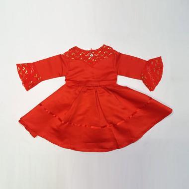 harga VERINA BABY Babydoll Tangan Panjang Variasi Brukat Tangan Dress Pesta Anak 4 tahun Merah Blibli.com