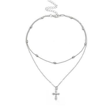 Bluelans Sexy Double Layers Choker Cross Pendant Charm Necklace Women Fashion Jewelry - Silver