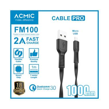 ACMIC FM100 Kabel Data Charger Micro USB 100cm Fast Charging Cable - Hitam