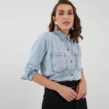 Berrybenka Daffi Denim Shirt Kemeja Wanita - Light Blue