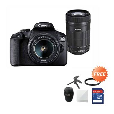 harga Canon EOS 1500D Kit 18-55 IS II + 55-250mm Lens Kamera DSLR - Hitam + Free SDHC 16GB + Mini Folding + Screenguard + Filter + Tas Blibli.com