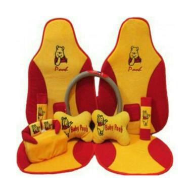 C2N Variasi Mobil Sandaran Motif Baby Pooh 5in1 Set Aksesoris Interior Mobil for Mobil Brv
