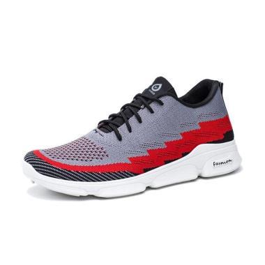 harga Sneakers Ambigo Sepatu Sneakers Kets Olahraga Pria Import, Sepatu Lari / Jogging Air Mesh Z17 - Grey Red Blibli.com