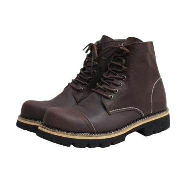 Handmade Wolf Pitbul Safety Sepatu Boot Pria - Brown