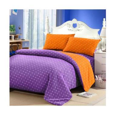 Jaxine Katun Polkadot Lilac Set Sprei - Orange