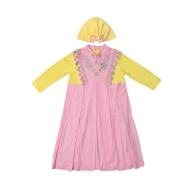 Eyka Renda Toddler Dress Gamis - Pink Yellow