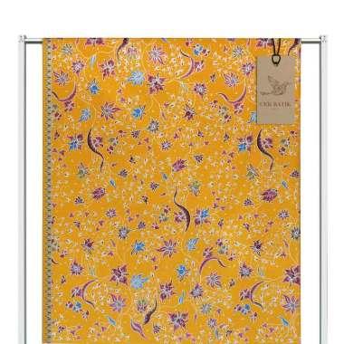 Cek Batik Motif Modern Bunga Manis Kain Batik - Kuning