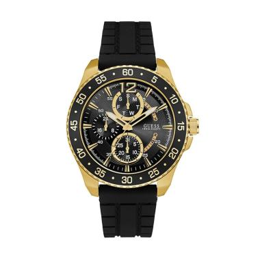 Guess Rubber Jam Tangan Pria - Black Gold W0798G3