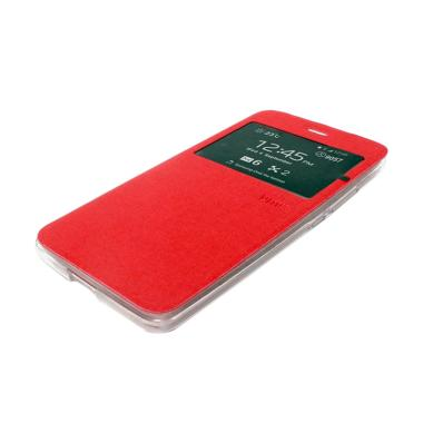 Ume Leather Flip Cover Casing for Nokia 535 - Merah