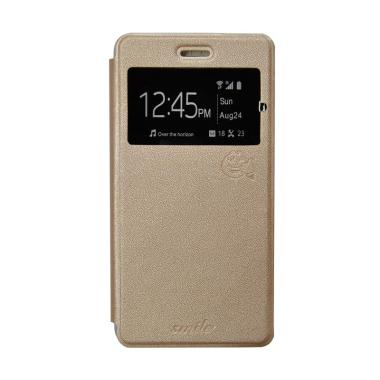 Smile Flip Cover Casing for Oppo Neo 7 A33 - Gold