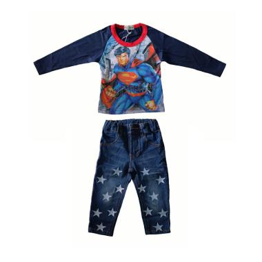 Lil Kids Superman Baju Setelan Anak -Navy
