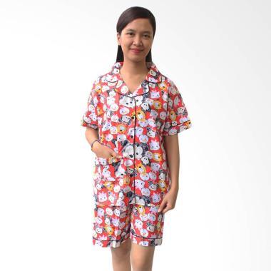 Aily SL016 Setelan Baju Tidur Piyama Wanita - Merah
