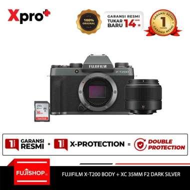 harga FUJISHOPid Fujifilm XT200 X-T200 Body + XC 35mm F2 Kamera Mirrorless Fuji XT200 + SDHC 16GB Garansi Resmi Dark SIlver Blibli.com