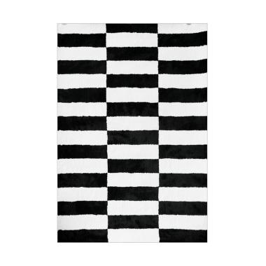 Vision Pop Checker Karpet - Black White [110 x 160 cm]