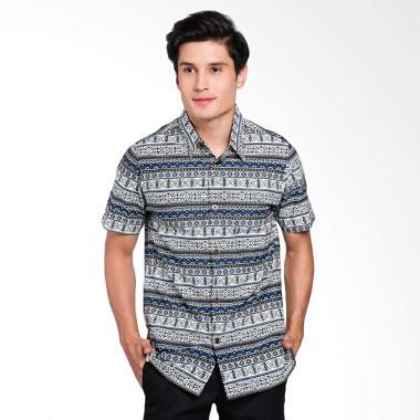 Batik Waskito Short Sleeve Shirt Kemeja Batik Pria - Blue HB 10655