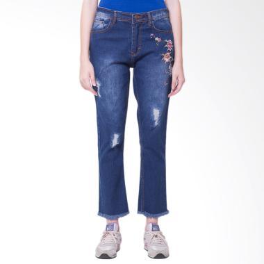 Nuber Harebell Ripped Navy Bordir R ... tch Celana Wanita - Jeans