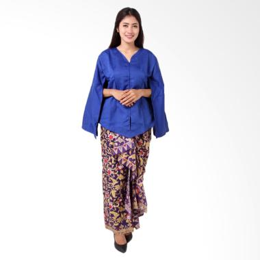 Batik Distro BA8771 Kaftan Setelan Blouse Rok Wanita - Biru