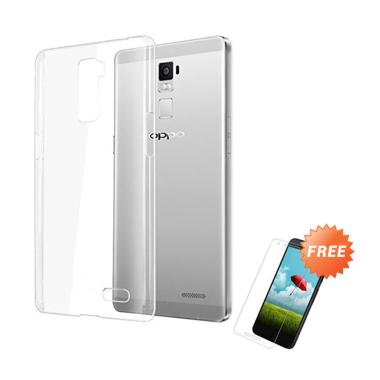 OEM Crystal Hardcase Casing for OPPO R7 Plus - Clear + Free Tempered Glass
