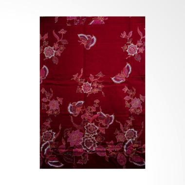 Batik Aksen Tropis Bahan Katun Satin Bunga Kupu Merah Kain Batik - Red