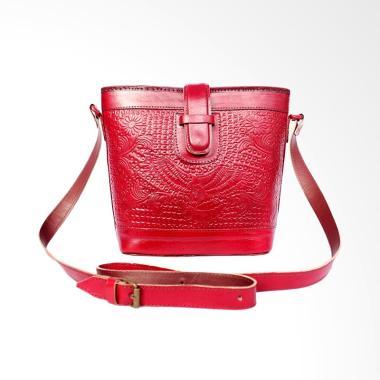 Kenes Leather Redish Motif Tas Kulit Sling Bag Wanita [L]