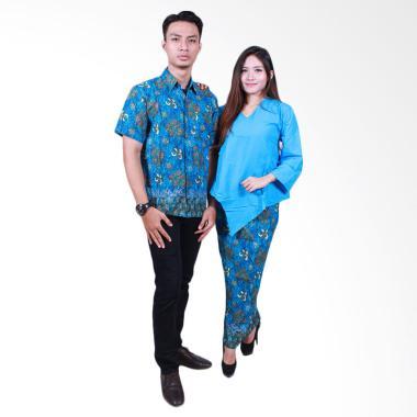 Batik Putri Ayu Solo SRD504 Sarimbit Dress Baju Batik Couple - Biru