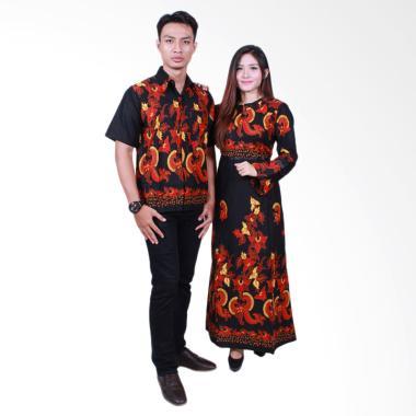 Batik Putri Ayu Solo SRG503 Sarimbit Gamis Baju Batik - Hitam