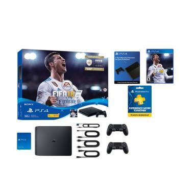 Sony PS4 Slim Bundle FIFA 18 Game Console [2 Stik/500GB]