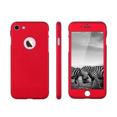 OEM 360 Hardcase Casing for iPhone 7 - Merah + Free Tempered Glass [Full Body