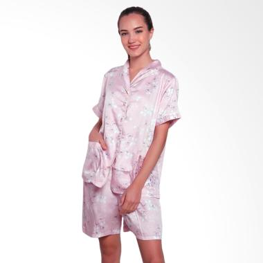 Just Fashion Satin Piyama Setelan Baju Tidur Wanita - Baby Pink
