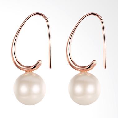 SOXY LKN18KRGPE252 Green Pearl Earrings - Rose Gold