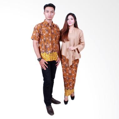Batik Putri Ayu Solo SRD506 Sarimbit Set Baju Batik Couple - Coklat
