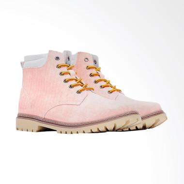 Life8 Casual Washed Canvas Simple Sepatu Boot Pria - Pink [09739]