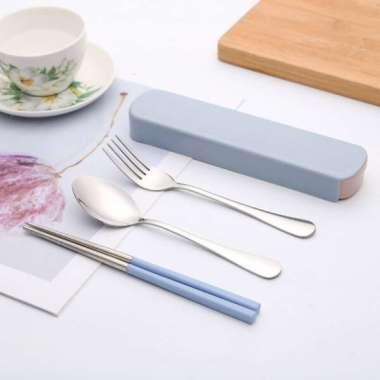 harga New Nordic Cutlery Set Sendok Garpu Sumpit Minimalis Stainless Steel - Biru Diskon Blibli.com