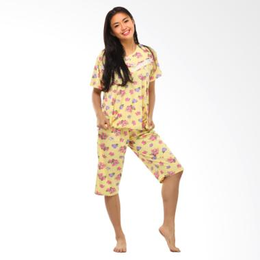 GRAZIEE BJ005 Flower Motif Celana 3/4 Baju Tidur Wanita