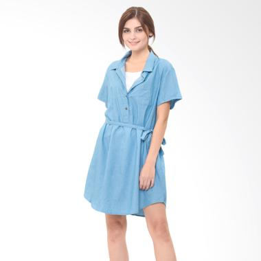 Mooimom Denim Nursing Dress Baju Hamil Menyusui - Blue