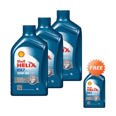 Buy 3 Get 1 Shell Helix HX7 10W 40 Oli Mobil Liter