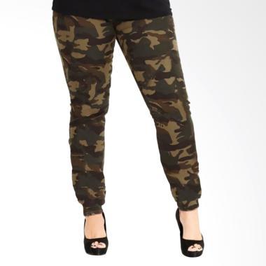 Jfashion Corak Army Celana Jogger Training Panjang Wanita [BIG SIZE]