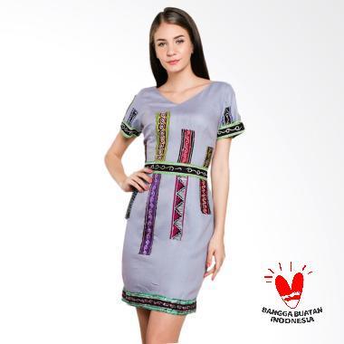 Lombang Batik Tempel Batik Dress - Ungu Muda