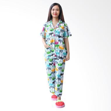 Aily BT010 Katun Jepang Keroppi Setelan Baju Tidur Wanita - Biru